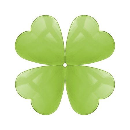 trefoil: An isolated reflective glass four leaf clover Stock Photo