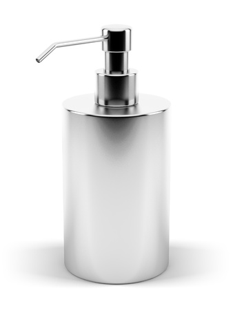 A render of an isolated metal soap dispenser