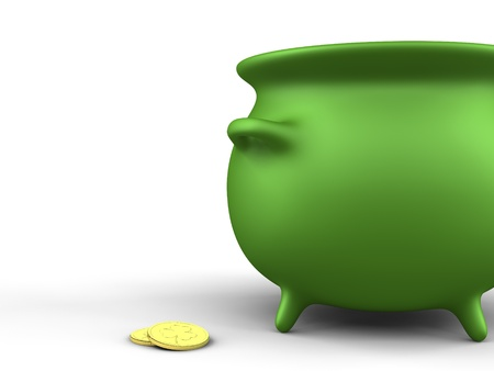 A render of a green pot and coins over white Stock Photo - 9055785