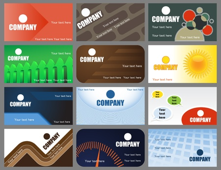 A set of twelve vector business cards designs Vector