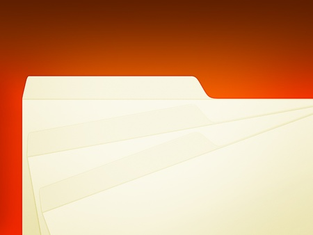 An illustration of 3 stack manila folders over red Stock Photo