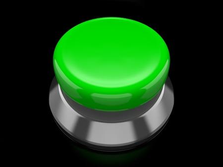 execute: A render of a green button over a black reflective surface