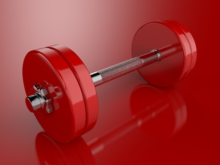 A render of a dumbbell over a reflective surface