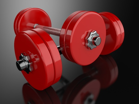 A render of a pair of dumbbells over a reflective surface