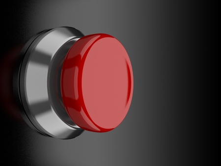 execute: A render of a red button over a black reflective surface