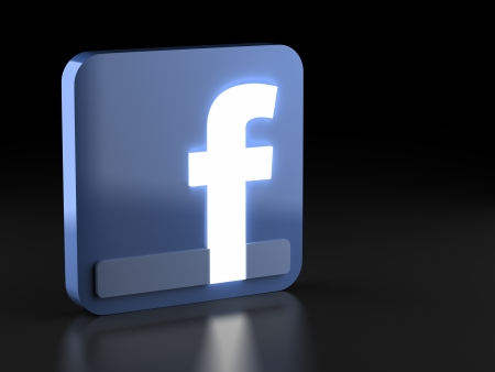 A render of a 3D facebook icon with glowing letter Editorial