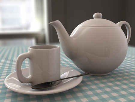 A render of a Teapot and a mug with tea, spoon and sugar photo