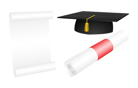 Vector mortarboard with a rolled and opened diploma