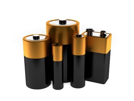 Een weergave van een groep verschillende batterijen Stockfoto