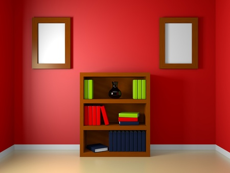 A render of a bookshelf in a red room Stock Photo