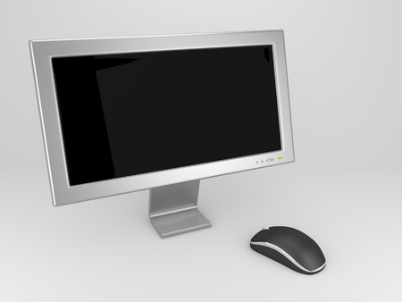 A render of a computer screen and a mouse