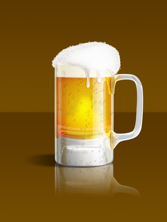 An illustration of a beer mug on brown background Фото со стока