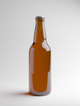A render of a brown beer bottle over a white background
