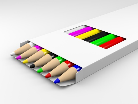 A render of a group of color pencils in a white box photo