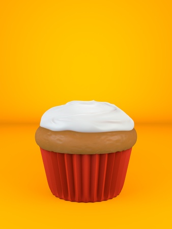A cupcake with flavored topping over an orange background Imagens