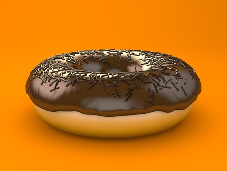 A chocolate donut sprinkled with chips Imagens