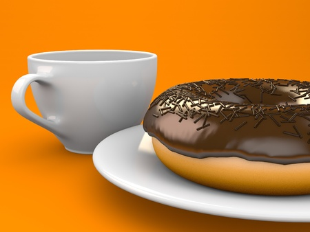 A chocolate donut sprinkled with chips and a coffee cup