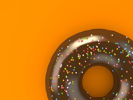 Een chocolade donut bestrooid met chips