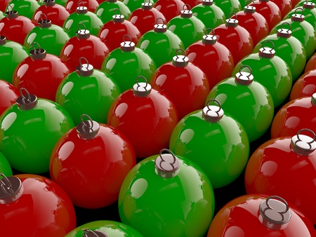 A set of red and green christmas spheres