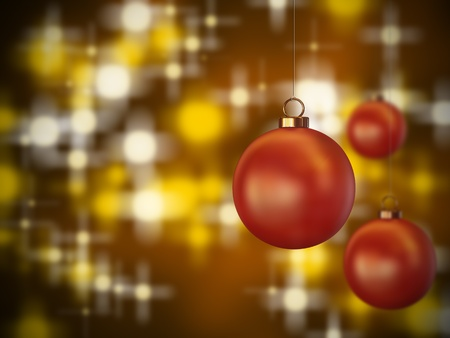 3 red christmas spheres hanging on a lit background Imagens