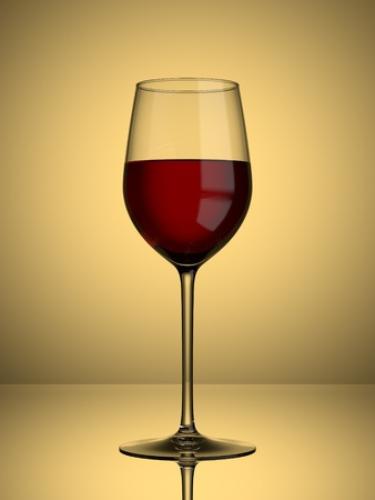 A glass of red wine on a lit background