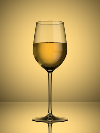 A glass of white wine on a lit background