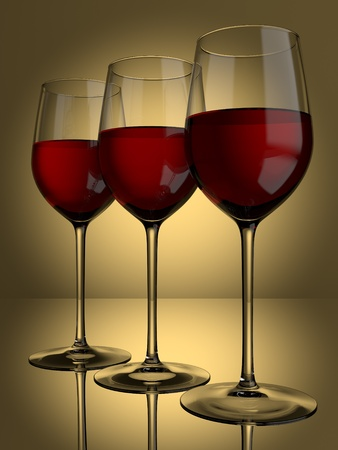 3 glasses of red wine on a lit background Stock Photo