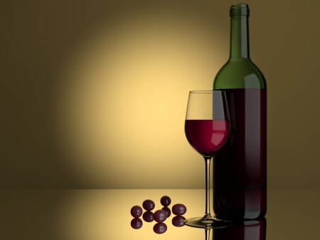 A glass of red wine and grapes on a lit background Stock Photo