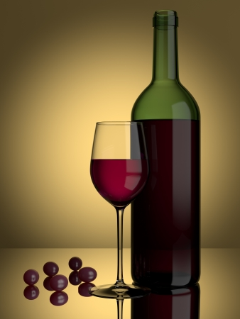 A glass of red wine and grapes on a lit background photo