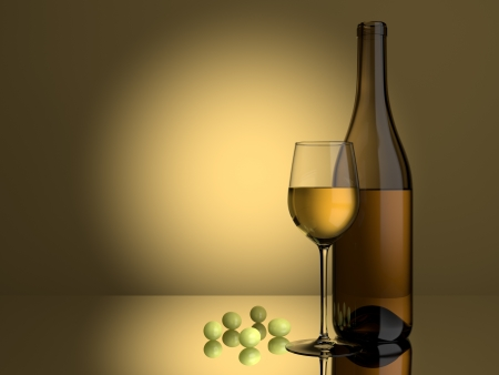 A glass of white wine an grapes on a lit background