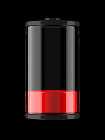 low glass: A render of an icon of a charge of a battery