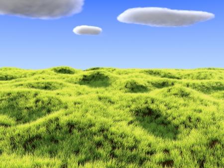 Geef van heldere een grasveld en wolken Stockfoto