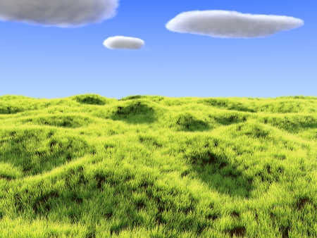 Render of bright a grass field and clouds Stock Photo
