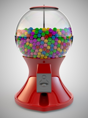 A Render of colorful gumball red machine