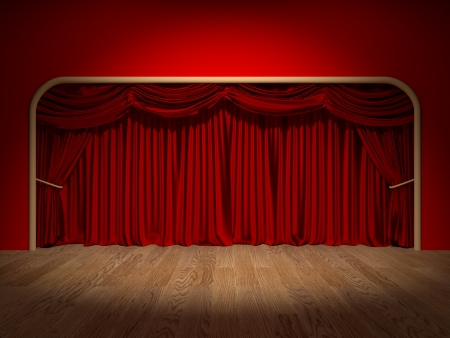 Render of the curtains of a theatre Banco de Imagens
