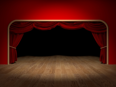 Render of the curtains of a theatre Stock Photo