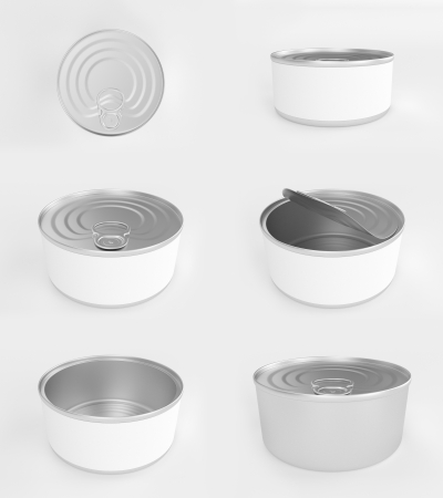 Different angles of open and closed tuna cans Stock Photo