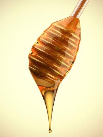 Een weergave van een lepel honing druipende Stockfoto