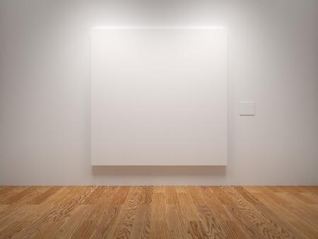 objetos cuadrados: Lienzo blanco blanco en una exposición Foto de archivo