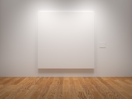 art gallery interior: White Blank Canvas In An Exhibition Stock Photo