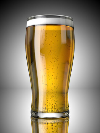 A Full Beer Pint with Froth and Bubbles On a Grey Background Banco de Imagens