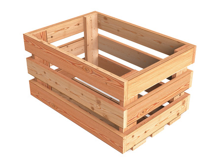 An isolated empty wooden fruit crate