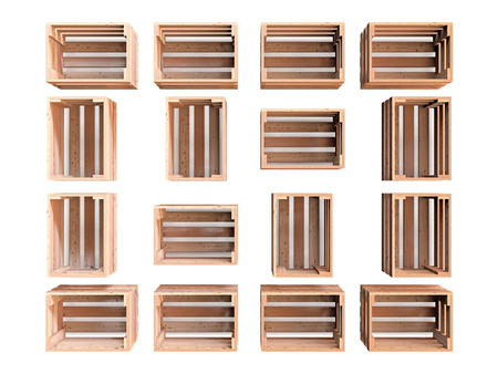 A composition of  isolated empty wooden fruit crates Imagens - 38784389