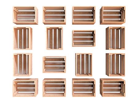 Een samenstelling van geïsoleerde lege houten fruit kisten