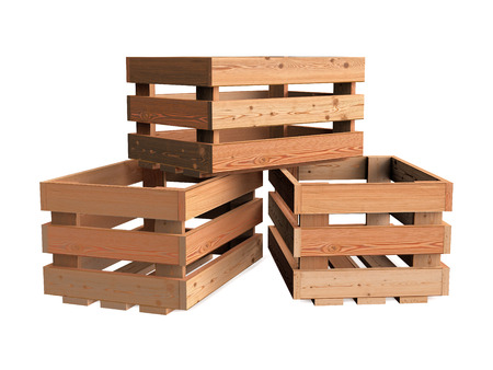 A heap of isolated empty wooden fruit crates