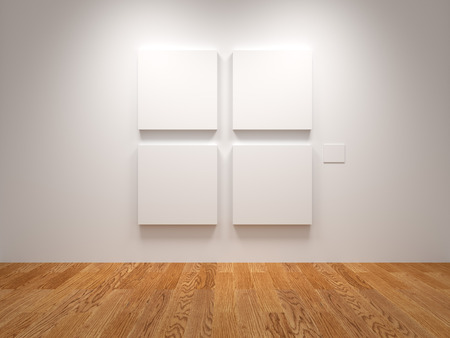 Four White Blank Canvas In An Exhibition