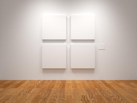 Quatre toile blanche vierge dans une exposition Banque d'images - 38784392