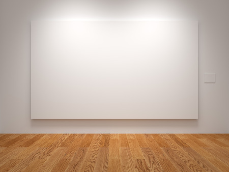 blank canvas: White Wide Blank Canvas In An Exhibition Stock Photo