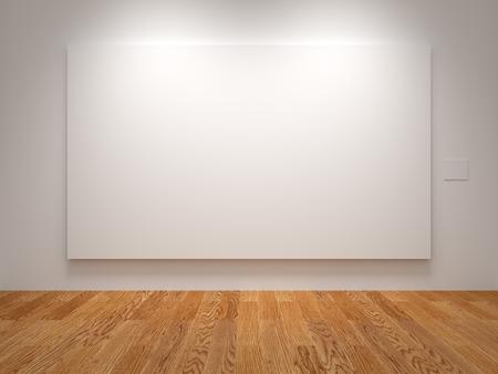White Wide Blank Canvas in een tentoonstelling