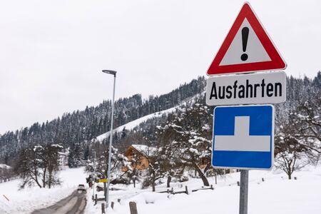 Traffic sign, warning, winter services, Schladming-Dachstein, Dachstein massif, Liezen District, Styria, Austria, Europe